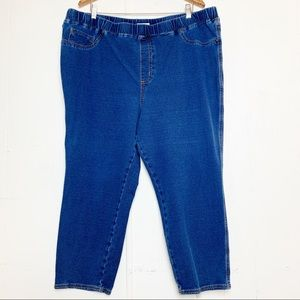 Catherines Knit Jean Pull On Medium Wash Cropped